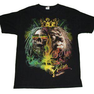 Rasta Bob Marley Lion Skeleton Blunt Graphic Tee